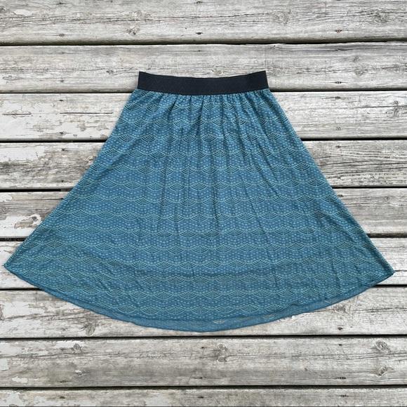 LuLaRoe Lola Dusty Teal Lace Midi Skirt sz Medium